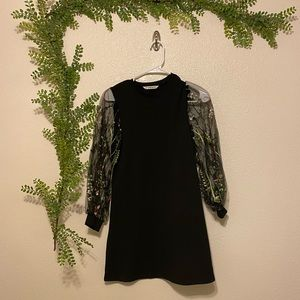 Shift Dress with sheer floral embroidery sleeves